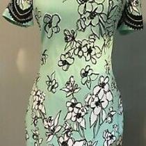 Belle Badgley Mischka Mint Green Dress With Black Flowers Sz 6 Photo