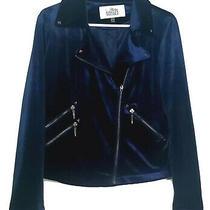 Belle Badgley Mischka Velvet Jacket Medium Moto Blazer Blue Studded Photo