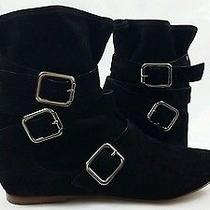 Belle by Sigerson Morrison Black Strap Buckle Booties Boots Size 8 Photo