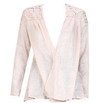 Belle Du Jour New Pale Blush Long-Sleeve Crochet-Top Open Sweater M 49 Dbfl Photo