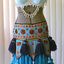 Belly Dancing Costume Bra With Chains & Silver Beaded Fringe Tribal Turquoise Photo