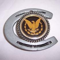 Belt Buckle American Eagle Horseshoe Gold and Silver Color Vintage Photo
