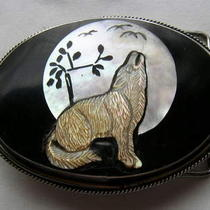 Belt Buckle Mother of Pearl Carved Timber Wolf  Photo