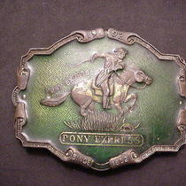 Belt Buckle Vintage Pony Express 1852-1902 R J Brand Green Enamel Antique Brass Photo