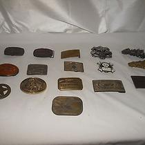 Belt Buckles Lot 16 Brass & Other Nra Browning Pony Express Mason - Most Vintage Photo