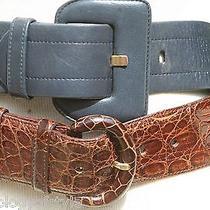 Belts Two Givenchy Crocodile Vintage Nos Mint Belts Size25/28 Navy Leather Croc Photo