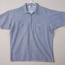 Ben Davis Blue White Workwear Over Shirt  2xl Xxl Engineer 1/4 Zip Grunge  Photo