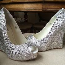 Benjamin Adams Mila Wedding Shoes Swarovski Crystal Wedge Heels Ivory 8.5 Photo