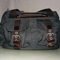 Bensimon Collection Blue Nylon and Leather Trim Front Pockets Camera Bag Photo