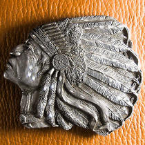 Bergamot Native American Indian Chief Pewter Belt Buckle  1993 Photo