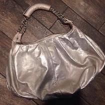 Besso Authentic Metallic Silver Chain Hobo Handbag Purse With Dust Cover Leather Photo