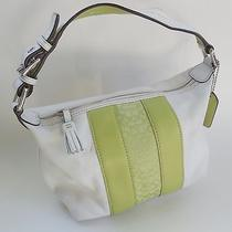 Best Buy%%%Coach White Leather Handbag With Lime Green Signature Fabric Photo