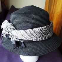 Betmar 75% Paper 25% Polyester Hat Black W Oscar De La Renta Silk Scarf 22.25