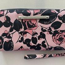 Betsety Johnson Black Roses Blush Zip Around Wallet Wristlet Clutch Floral New Photo