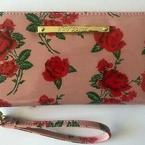 Betsety Johnson Blush Pink Red Roses Glossy Zip Around Wallet Wristlet Clutch Photo