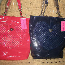 Betsey Johnsob Pinkdark Blue Handbagtotesatchelheart Shopperchain Patent Photo