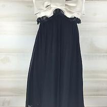 Betsey Johnson 100% Silk Beige Nude Black Empire Bow Baby Doll Formal Dress 8 M Photo