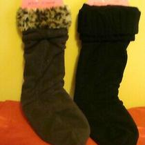 Betsey Johnson 2 Prs  Women's Boot Liner Socks Black & Brown W/leopard M/l Photo