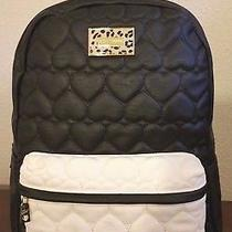 Betsey Johnson Backpack Black/cream Quilted Hearts Leopard Plaque Brl0015 Large Photo