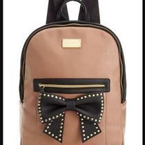 Betsey Johnson Backpack Studded Bow Front Pocket Tan Black Xl Signature Print Photo