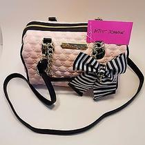 Betsey Johnson Bag Medium Barrel Shoulder Satchel Blush Pink Bow Quilted Purse Photo