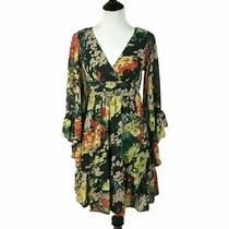 Betsey Johnson Bambi Bell Sleeve Dress 265 Black Floral Print Size 2 New Photo