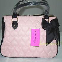 Betsey Johnson Be Mine Blush Black Ew Satchel Bag Handbag Photo