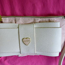 Betsey Johnson Be Mine Blush Pink Bone Stitched Heart Wristlet Wallet Nwt Photo