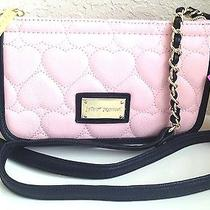 Betsey Johnson Be Mine E/w Crossbody Blush Black Shoulder Bag Purse Pink Y14 Photo