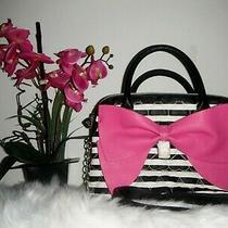 Betsey Johnson Be Mine Hot Pink Bow Black White Satchel Purse Handbag Nwt 98 Photo