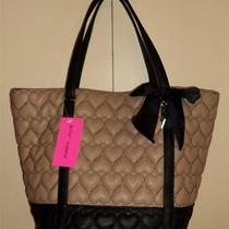 Betsey Johnson Be Mine Tan & Black Quilted Heart Tote Bag Handbag New Photo