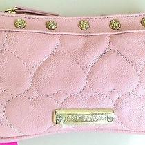Betsey Johnson Be Mine Wristlet Wallet Cosmetic Pink Blush Clutch Hearts Nwt Y14 Photo