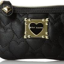 Betsey Johnson Be My Sweetheart Top-Zip Mini Wallet  - Black Photo