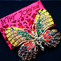 Betsey Johnson Beautiful Female Crystal Butterfly Beautiful Cute Brooch Pin Photo