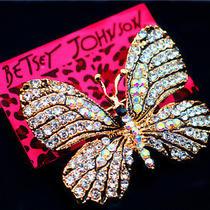 Betsey Johnson Beautiful Female Crystal Butterfly Beautiful Prom Brooch Pin Photo