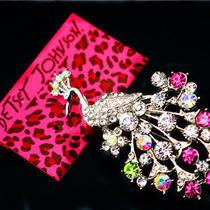 Betsey Johnson Beautiful Female Crystal Peacock Beautiful Prom Brooch Pin Photo