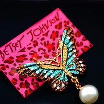 Betsey Johnson Beautiful Female Pearl Crystal Butterfly Beautiful Prom Brooch  Photo