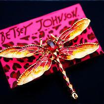 Betsey Johnson Beautiful  Jewelry Enamel Crystal Dragonfly Charm Brooch Pin Photo