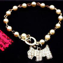 Betsey Johnson Beautiful Women Fashion Jewelry Pearl Crystal Dog Charm Bracelet Photo