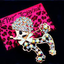 Betsey Johnson Beautiful Women's Fashion Jewelry Crystal Poodle Charm Brooch Pin Photo