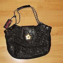 Betsey Johnson  Betseyville  Black & Gold Hardware Star Bag / Purse Euc Photo