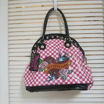 Betsey Johnson Betseyville Checkered Studded Shoulder Bag Hobo Purse  Photo