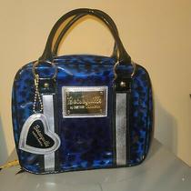 Betsey Johnson Betseyville Clear Blue Cheetah Vinyl Purse Travel Makeup Bag Rare Photo