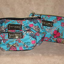 Betsey Johnson Betseyville Junk in the Trunk Teal 3 Piece Set Case Bag Purse Nwt Photo