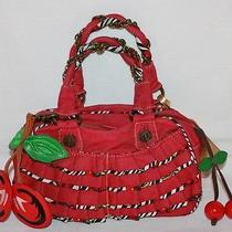 Betsey Johnson Betseyville Red Denim Ruffled Cherry Poppin Satchel Handbag Purse Photo