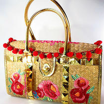 Betsey Johnson Betseyville Straw Floral Gold Leather Handbag  Photo