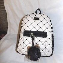Betsey Johnson Black and White Quilted Hearts Backpack New Photo