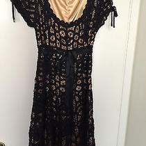 Betsey Johnson Black Crochet Dress With Silk Ribbon Belt Size 2 Photo