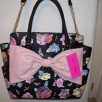 Betsey Johnson Black Floral Satchel Tote Lattice Blush Pink Bow Bag Nwt Purse  Photo