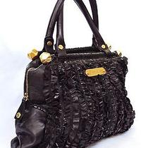 Betsey Johnson Black Leather Ruffle Rhapsody Tote Large Purse Handbag Gold Pink Photo